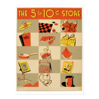 Cartão Postal Varejo colorido cinco do vintage e loja de moeda