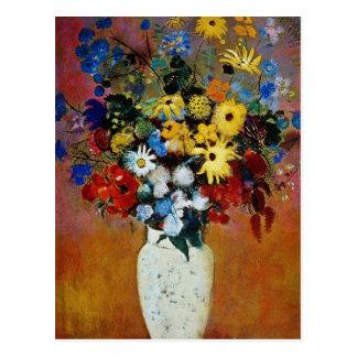Cartão Postal vaso amarelo das flores, flores de Odilon Redon