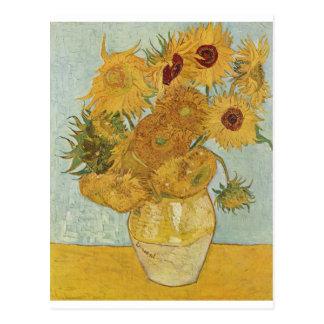 Cartão Postal Vaso com 12 girassóis