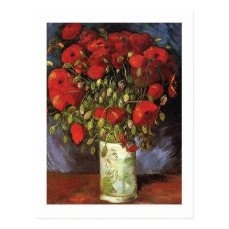 Cartão Postal Vaso com as papoilas vermelhas por Vincent van