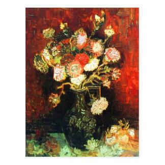 Cartão Postal Vaso com ásteres & belas artes de Van Gogh do