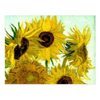Cartão Postal Vaso com doze girassóis, belas artes de Van Gogh