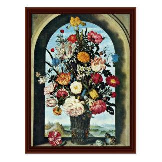Cartão Postal Vaso com flores em uma janela. Encontrado,