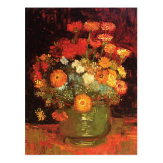 Cartão Postal Vaso com os Zinnias por Vincent van Gogh