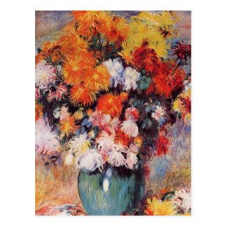 Cartão Postal Vaso de Pierre Auguste Renoir dos crisântemos
