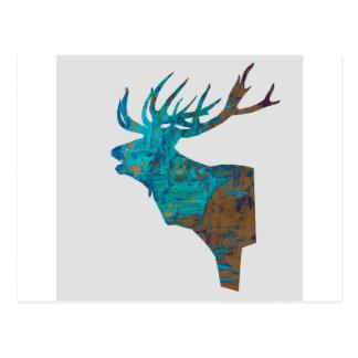 Cartão Postal veado principal dos cervos nos turquois