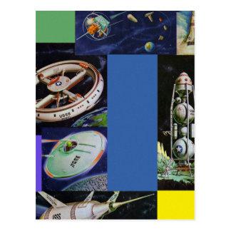 Cartão Postal Veículos de espaço retros UFOs de Sci Fi do kitsch