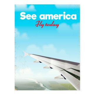 """Cartão Postal Veja América """"voar hoje"""" a cópia das férias do"""