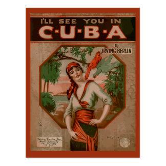 Cartão Postal Veja-o em Cuba, cobrir retro da partitura