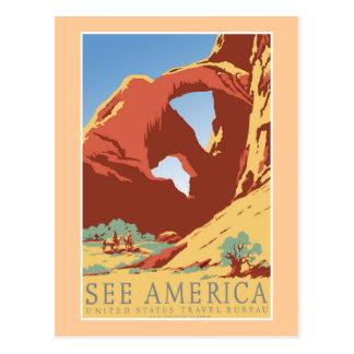 """Cartão Postal """"Veja o poster das viagens vintage de América WPA"""
