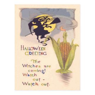 Cartão Postal Vela da espiga de milho da Lua cheia da bruxa do
