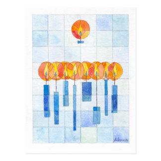 Cartão Postal Velas de suspensão de Hanukkah