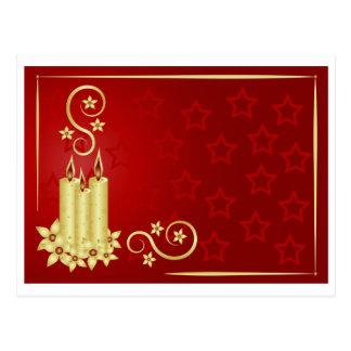 Cartão Postal velas, flores e redemoinhos do ouro no fundo