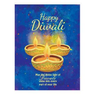 Cartão Postal Velas illuminating felizes de Diwali que