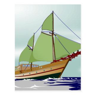 Cartão Postal Veleiro de madeira
