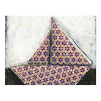 Cartão Postal Veleiro de Origami no papel do design da estrela