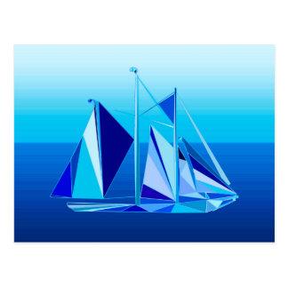 Cartão Postal Veleiro/iate geométricos modernos, azul cobalto