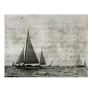 Cartão Postal Veleiro no Lago Michigan, barcos na antiguidade do