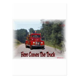 Cartão Postal Vem aqui o caminhão de fogo