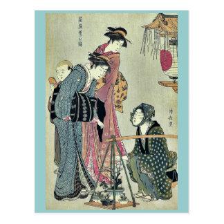 Cartão Postal Vendedor da planta por Torii, Kiyonaga Ukiyoe