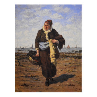 Cartão Postal Vendedor do marisco em Honfleur por Louis um