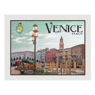Cartão Postal Veneza - canal grande e ponte de Rialto