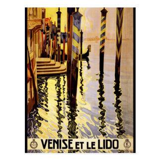 Cartão Postal Venise e poster das viagens vintage de le Lido