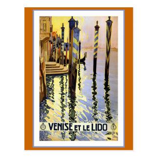 """Cartão Postal """"Venise e poster das viagens vintage de le Lido"""""""
