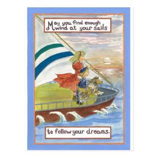 Cartão Postal Vento da arte de Sheltie em suas velas