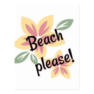 Cartão Postal Verão floral - praia por favor