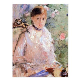 Cartão Postal Verão (jovem mulher na janela) por Morisot