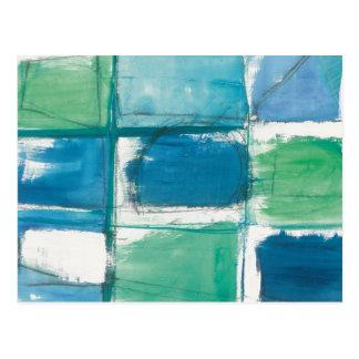 Cartão Postal Verde abstrato e azul no branco