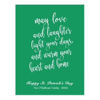 Cartão Postal Verde & branco do dia de St Patrick de bênção