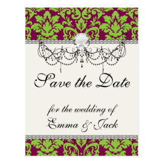 Cartão Postal verde de ervilha e cor damasco da ameixa da