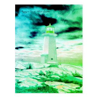 Cartão Postal Verde de Nova Escócia da rota do farol da angra de