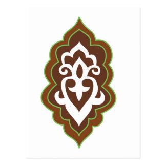 Cartão Postal Verde do Arabesque do Henna