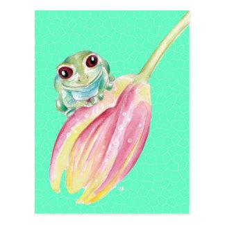 Cartão Postal Verde do comedor de rãs