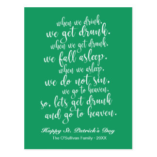 Cartão Postal Verde legal & branco do dia de St Patrick irlandês