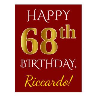 Cartão Postal Vermelho, aniversário do ouro do falso 68th + Nome