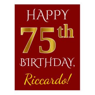 Cartão Postal Vermelho, aniversário do ouro do falso 75th + Nome