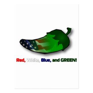 Cartão Postal Vermelho, branco, azul e verde