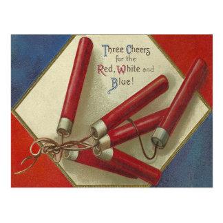 Cartão Postal Vermelho, branco e azul