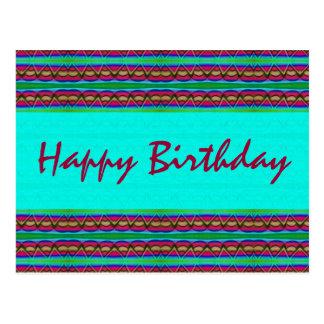 Cartão Postal Vermelho de turquesa do feliz aniversario