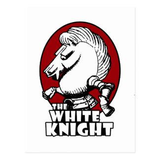 Cartão Postal Vermelho do logotipo do cavaleiro branco