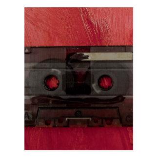 Cartão Postal Vermelho do vintage da música da cassete de banda