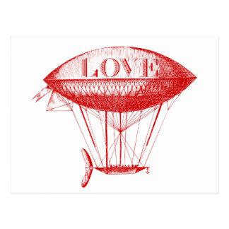 Cartão Postal Vermelho do zepelim do amor do vintage