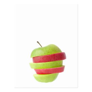 Cartão Postal Vermelho e maçã cortada verde