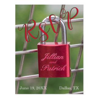 Cartão Postal Vermelho especializado cadeado dos amantes de RSVP