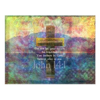 Cartão Postal Verso bíblico inspirado do 14:1 de John