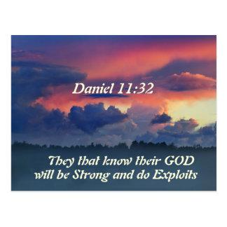 Cartão Postal Verso da bíblia do 11:32 de Daniel